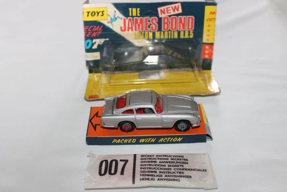 Corgi Toys 270 Silver James Bond Aston Martin 1st Issue Winged Box-side