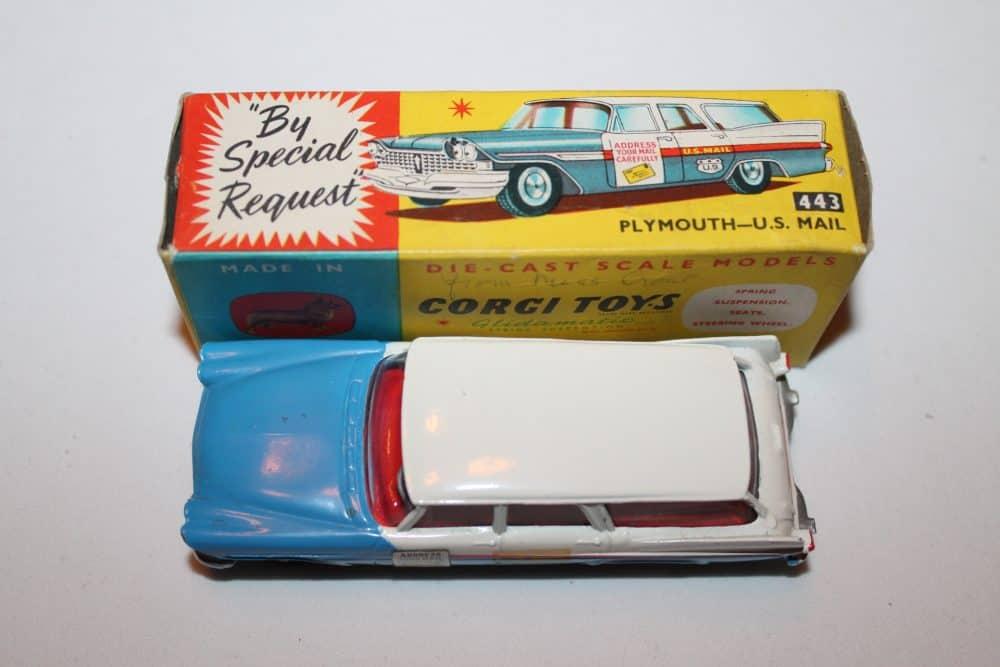 Corgi Toys 443 Plymouth-U.S. Mail Car-top