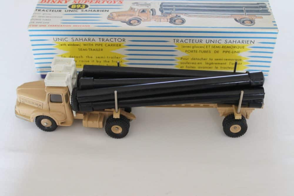 French Dinky893 Unic Sahara Pipe Transporter