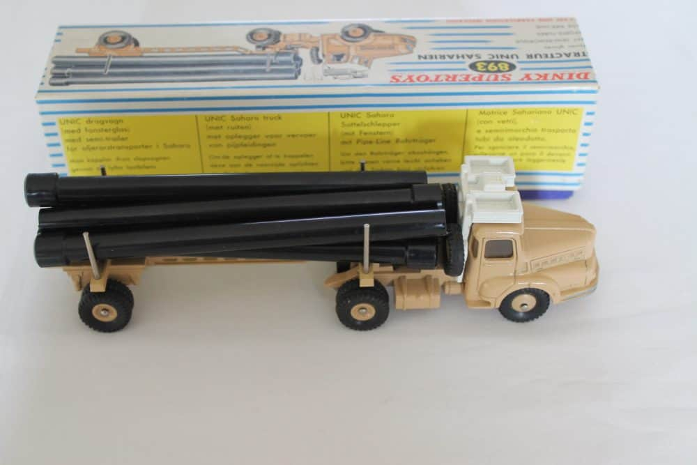 French Dinky893 Unic Sahara Pipe Transporter-side
