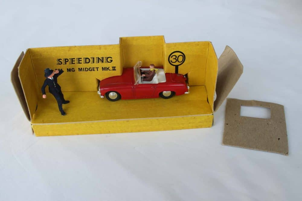 Spot-On Toys 281 Red MG MK 2 (Speeding)-opened